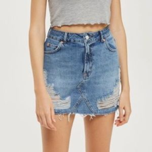Topshop distressed denim skirt